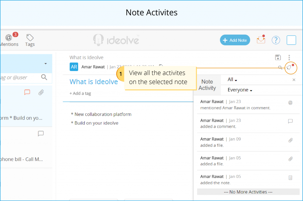 Note Activity - View all actions
