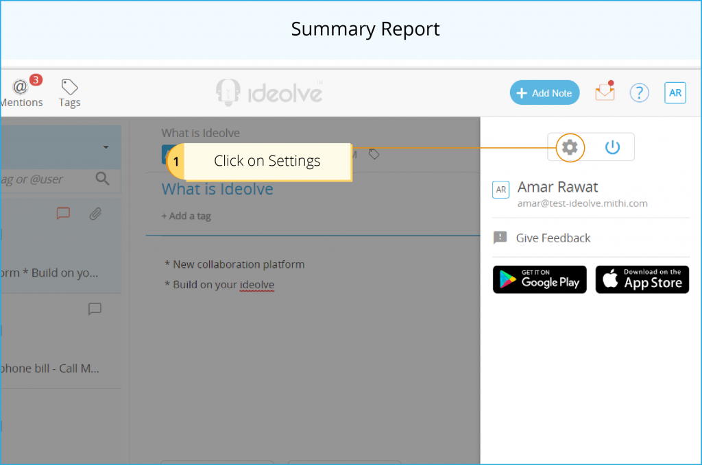 Summary Report - Click on Settings