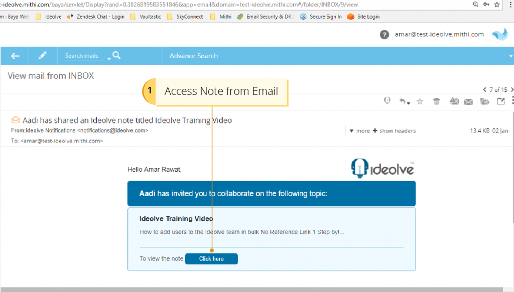 Access Note from Email