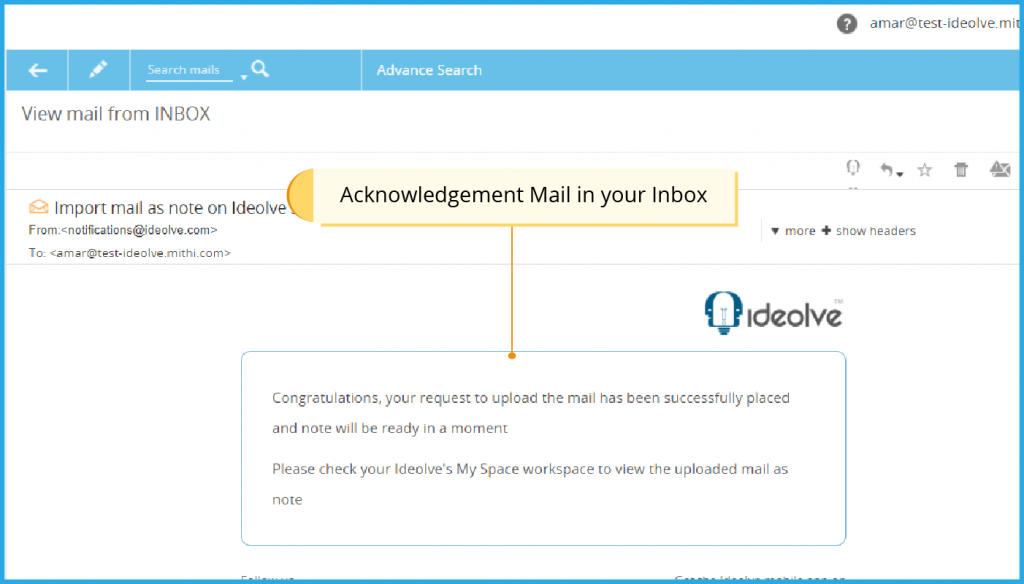 Acknowledgement Mail in your Inbox
