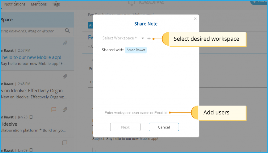 Select desired workspace, Add users
