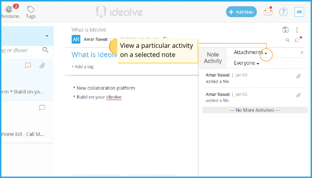 View a particular activity in a note