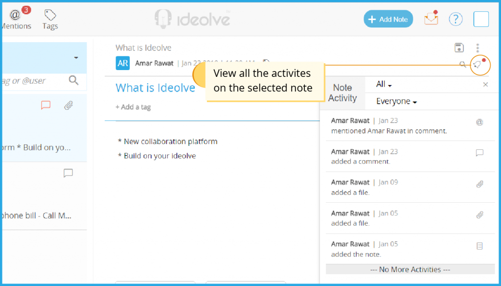 View all activities in a note